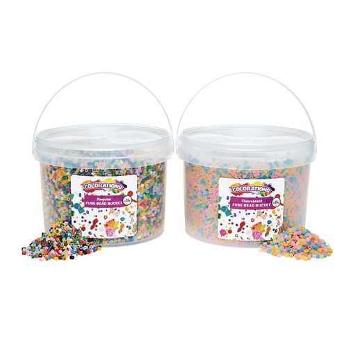 Colorations® Fuse Beads Fluorescent & Regular Beads - 12 Pegboards in a Bucket - 44,000 Beads