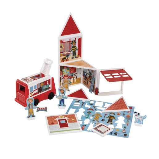 Image of Magnetivity Magnetic Building Play Set 74-Pieces Fire Station