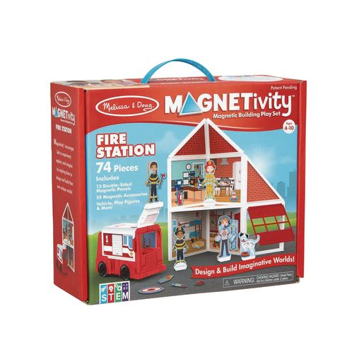 Magnetivity Magnetic Building Play Set 74-Pieces Fire Station