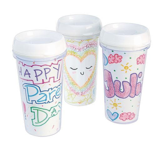 Colorations® Decorate Your Own Travel Mugs, Set of 12