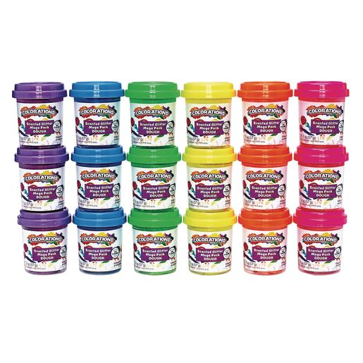 Image of Colorations Scented Glitter Dough, 2 oz, Set of 18