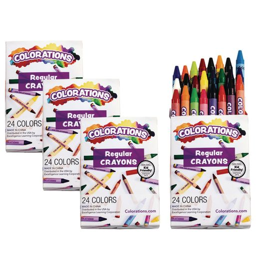 Colorations® Regular Crayons, Set of 24 Colors, 4 Packs