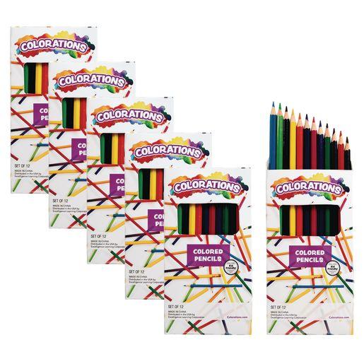 Colorations Color Pencils, 12 Colors, 6 Packs