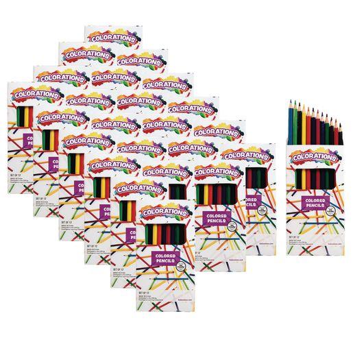 Colorations Color Pencils, 12 Colors, 24 Packs