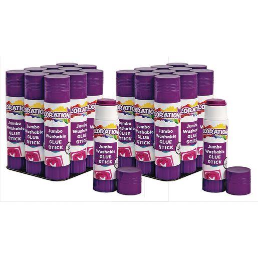 Colorations® Jumbo Washable Purple Glue Sticks, Set of 24, 1.41 oz each