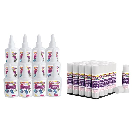 Colorations® Premium Glue Sticks in a Tray Set of 24