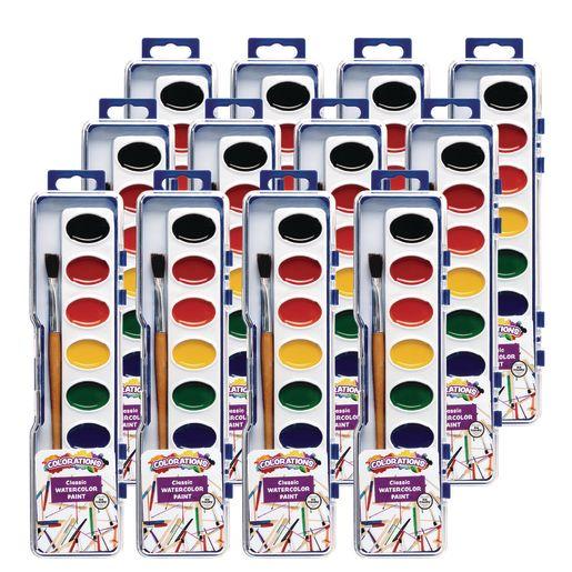 12 Colorations® Washable Watercolor Paint Palettes, 8 colors each