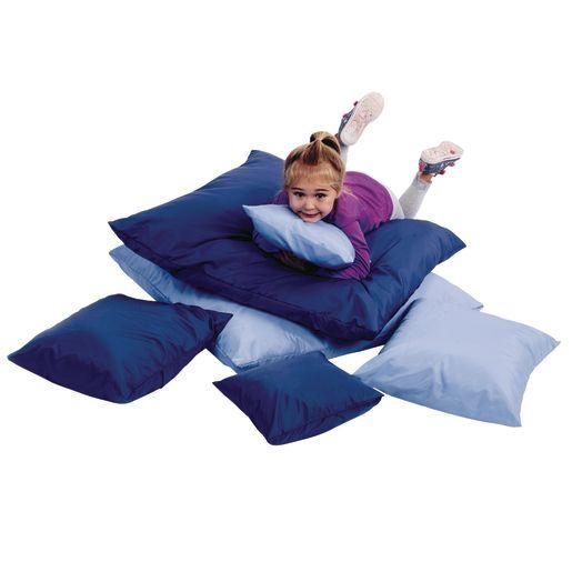 Two-Tone Pillows, Set of 6 - Blue/Light Blue