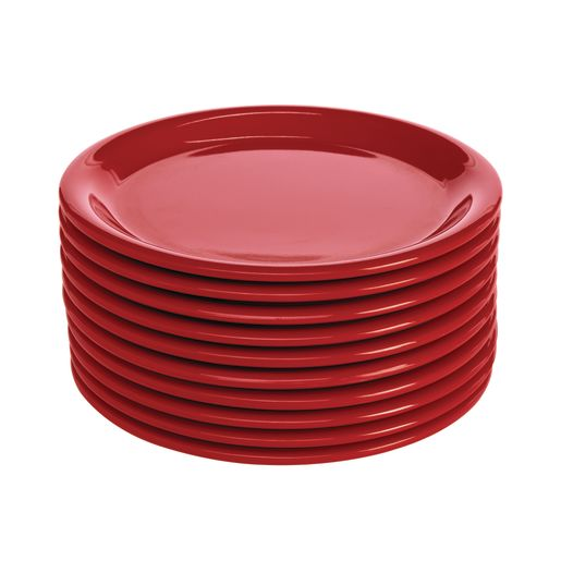 "Melamine 6-1/2"" Plate Red Set of 10"