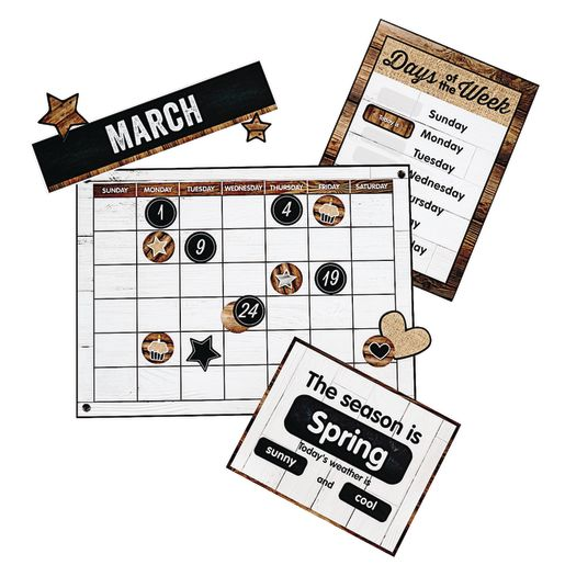 Rustic Calendar Bulletin Board Set