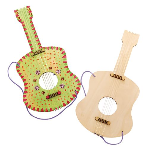 Image of Decorate Your Own Wooden Guitar for Kids Set of 6