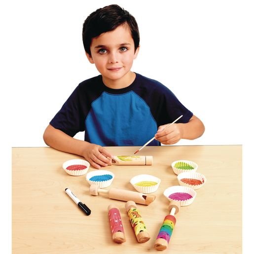 Colorations Decorate Your Own Wooden Slide Whistles - Set of 12