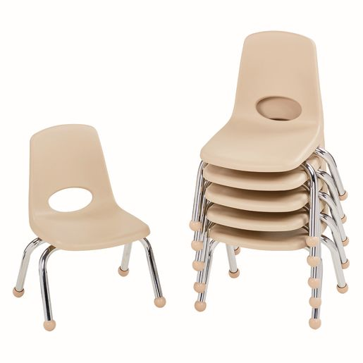 "10"" Stack Chair with Ball Glides - Sand, Set of 6"