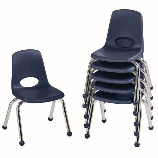 "12"" Stack Chair with Ball Glides - Navy, Set of 6"
