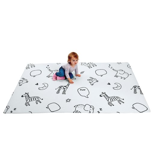 Reversible Soft Play Mat, Small - Animal Talk/Chevron