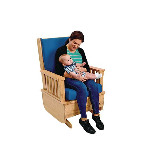 Premium Easy-Care Glider Rocker with Blue Cushion