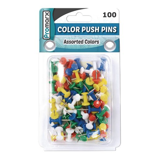 Push Pins Assorted Colors - 100 Ct.