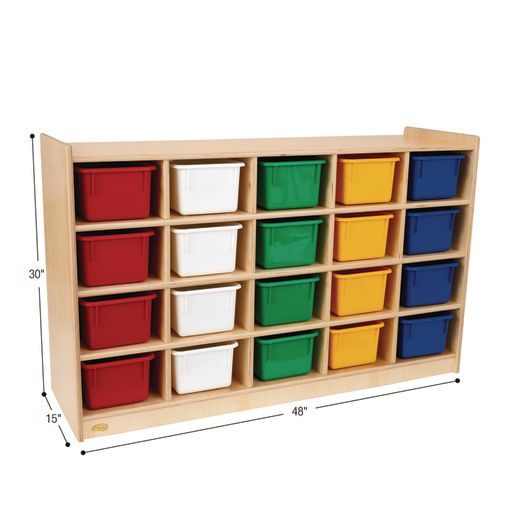 Angeles® 20-Cubbie Mobile Storage with Assorted Color Trays