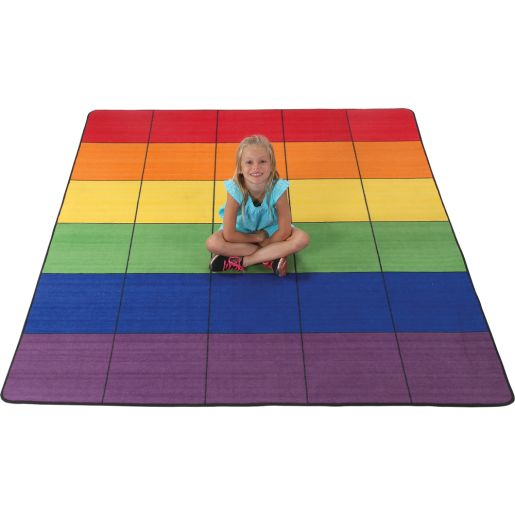 """7' 6"""" Group Colors Rug - 6 Colors - 30 Squares"""