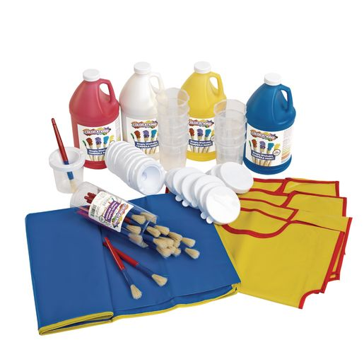 Colorations® Tempera Paint Kit Including Mock, Mat, Paint Brushes & Cups