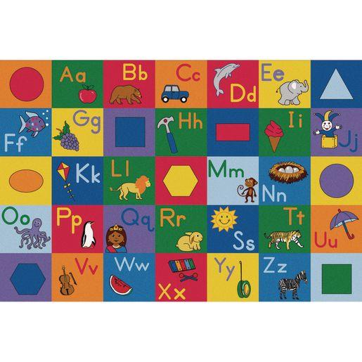 Colorful Alphabet and Geometric Shapes Premium Carpet - 6' x 9' Rectangle