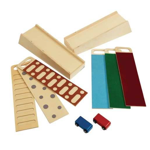 Excellerations® Wooden Ramp STEM Discovery Set with Ramps, Textured Surfaces, and Cars
