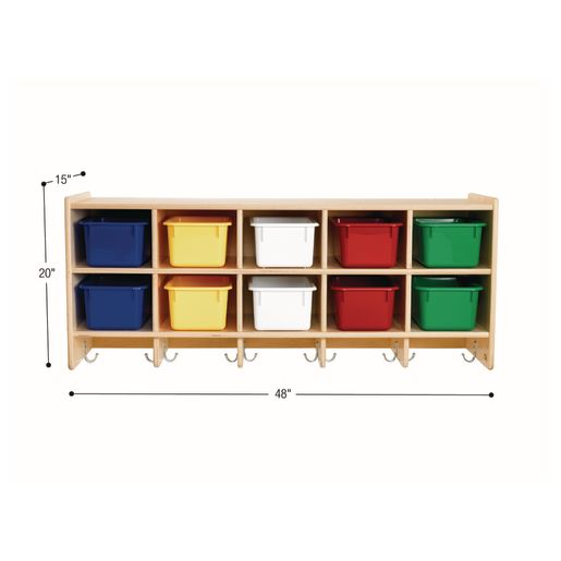 10-Section Wall Locker with Assorted Color Trays