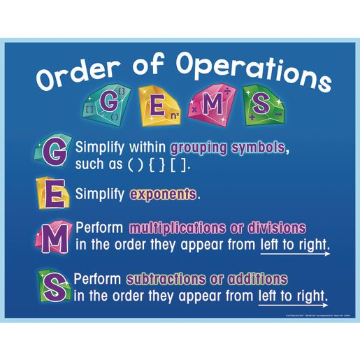 G.E.M.S. Order Of Operations Poster