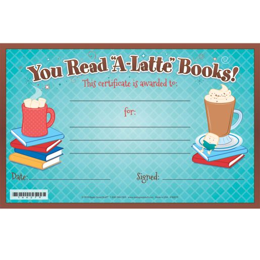 Warm Up To A Good Book You Read 'A-Latte' Certificates