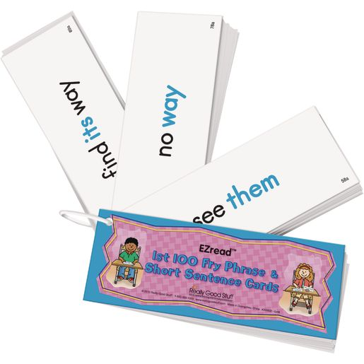 EZread 1st 100 Fry Phrase  Short Sentence Cards - 100 cards