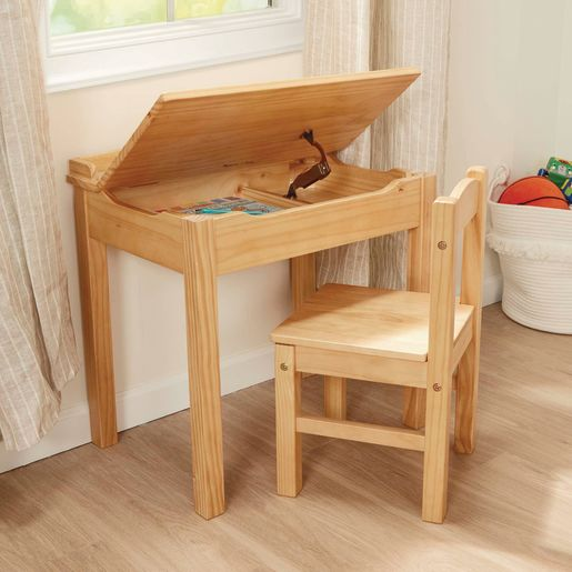 Lift-Top Desk with Chair - Natural