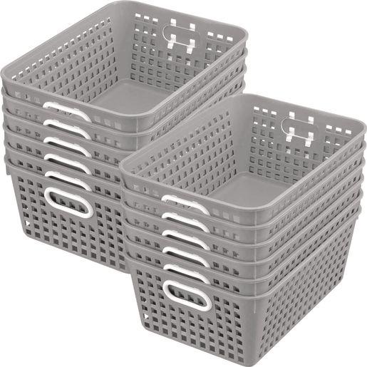 Book Baskets - Large Rectangle - Set of 12 - Pebble