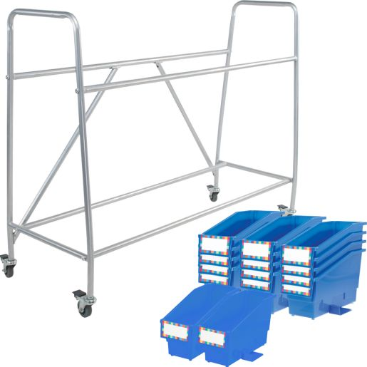 Classroom Library Rack With Book And Binder Bins - Blue