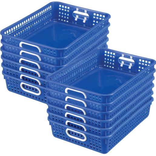 Classroom Paper Baskets - Set of 12 - Blue