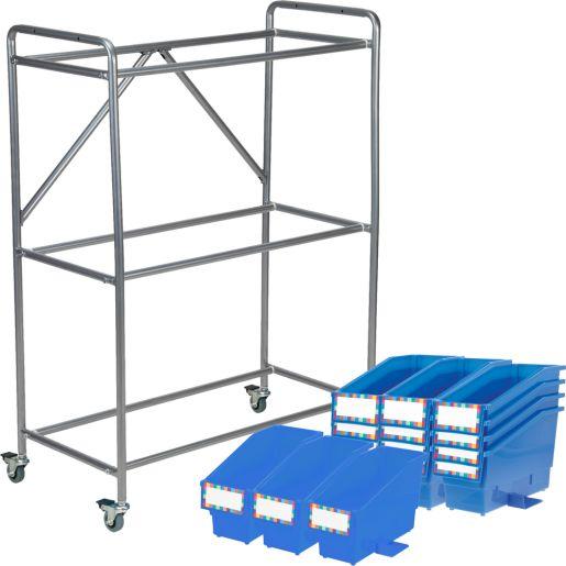 Student Bins Organizing Rack With Bins - Blue