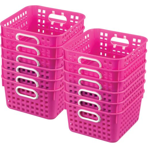 Book Baskets - Square - Set of 12 - Neon Pink