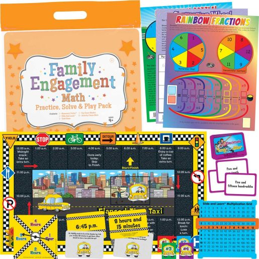 Family Engagement Math - Practice, Solve and Play Pack - 4th Grade