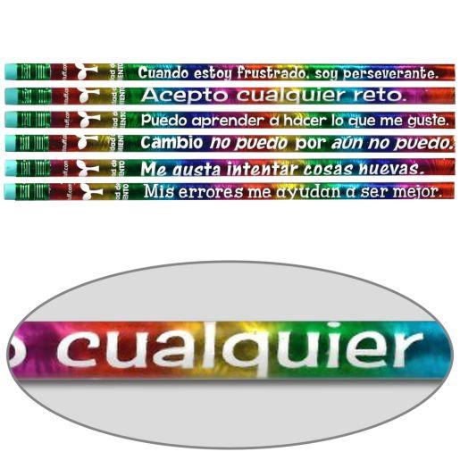 Spanish Growth Mindset Pencils - Set of 12