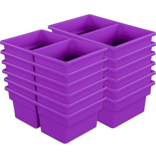 Two-Compartment All-Purpose Bins Set Of 12 Single Color - Purple