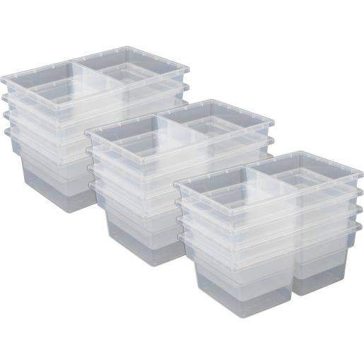 Two-Compartment All-Purpose Bins Set Of 12 Single Color - Clear