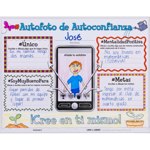 Ready-To-Decorate® Spanish Growth Mindset Proud Of My #SELFIE Posters - Set of 24