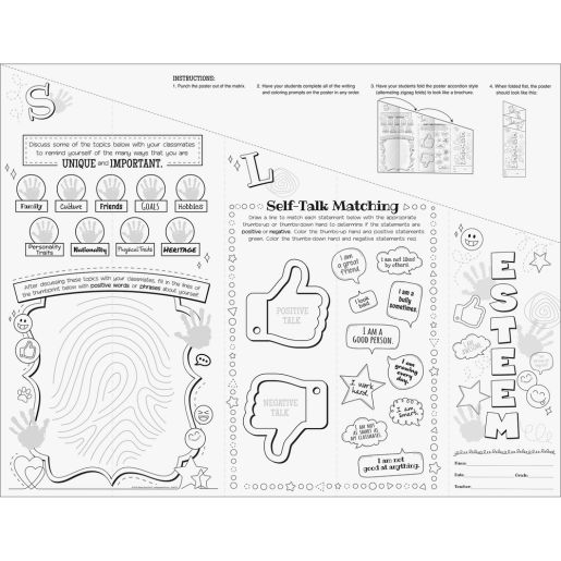 Ready-To-Decorate Self-Esteem Foldable Posters