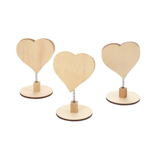 Colorations Wooden Bobble Heart Note Holders - Set of 3_1