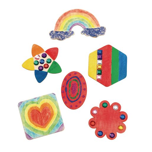 Decorate Your Own Wooden Magnet Shapes, Set of 12