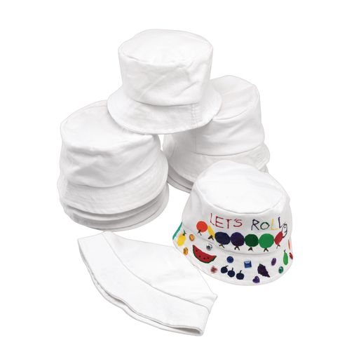 Decorate Your Own Canvas Bucket Hat, Set of 10