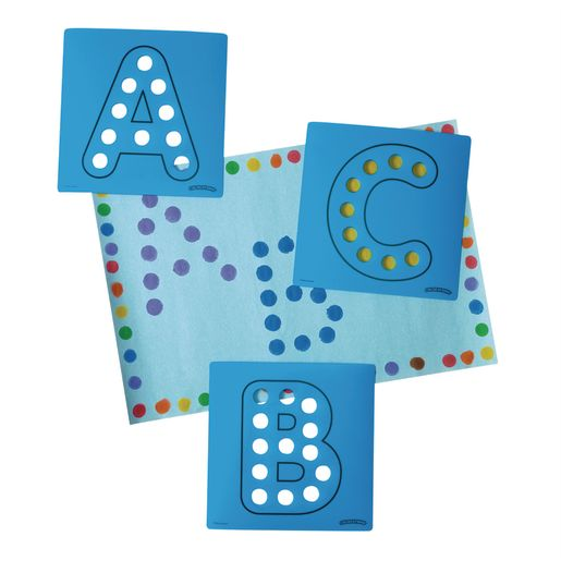Dabber Dot Stencil Set Upper Case Alphabet, 26 Piece Stencil Set