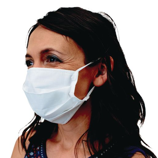 Adult Cotton White Face Covering with Ear Loops 20-Pack