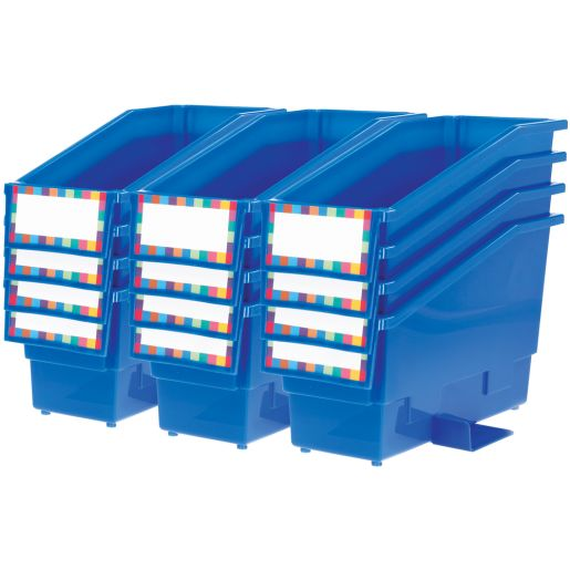 Durable Book and Binder Holder with Stabilizer Wing and Label Holder - Blue