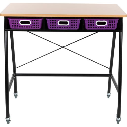 Teacher Standing Desk With Baskets - Purple