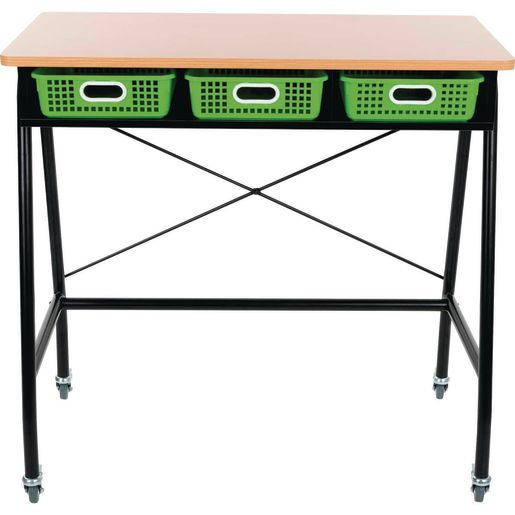 Teacher Standing Desk With Baskets - Neon Green